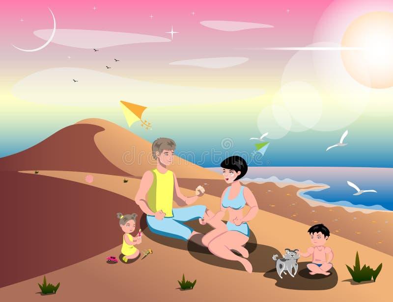 Cute cartoon family on beach royalty free illustration