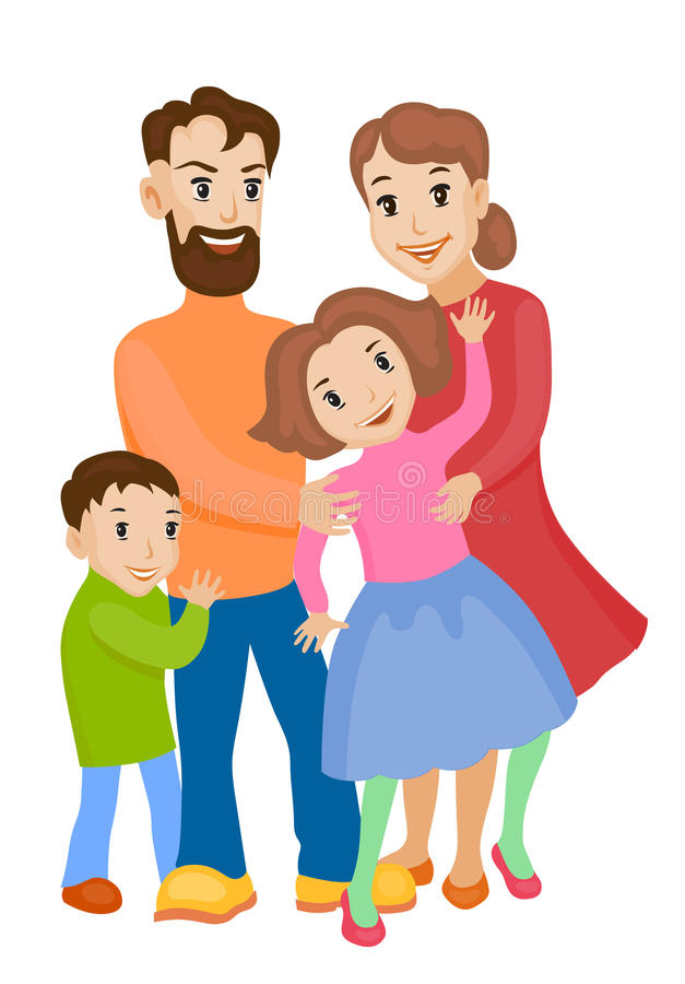 Cute cartoon family in colorful stylish clothes royalty free illustration