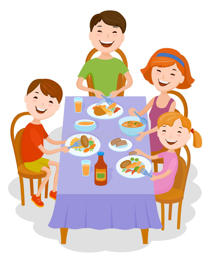 Cute cartoon family dined at the table. Fun cartoon family in colorful stylish clothes dined at the table. Father, mother and children royalty free illustration
