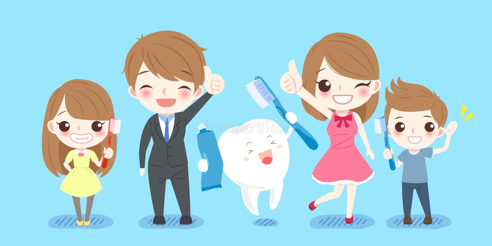Cute cartoon family with tooth royalty free illustration