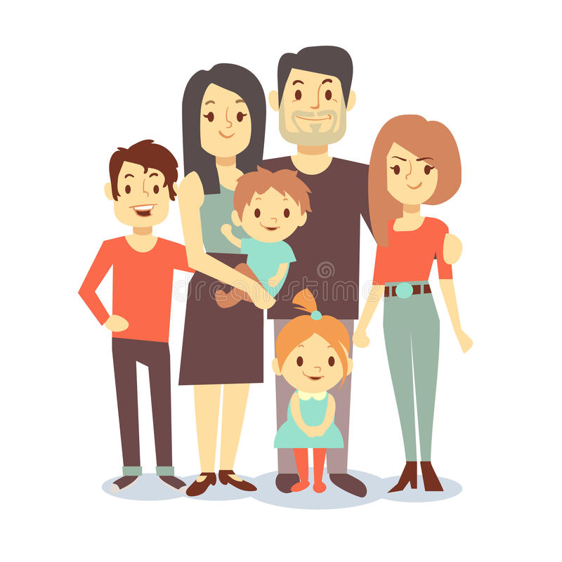 Cute cartoon family vector characters in casual clothes vector illustration
