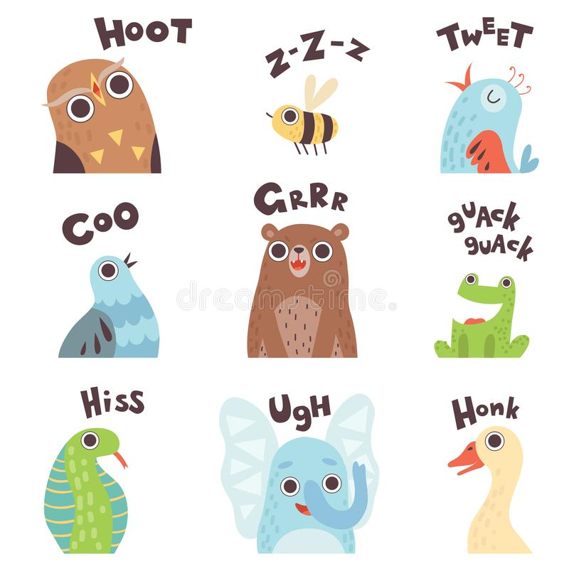 Cute Cartoon Farm Animal Making Sounds Set, Owl, Bee, Bird, Pigeon, Bear, Frog, Snake, Elephant, Goose Saying Vector royalty free illustration