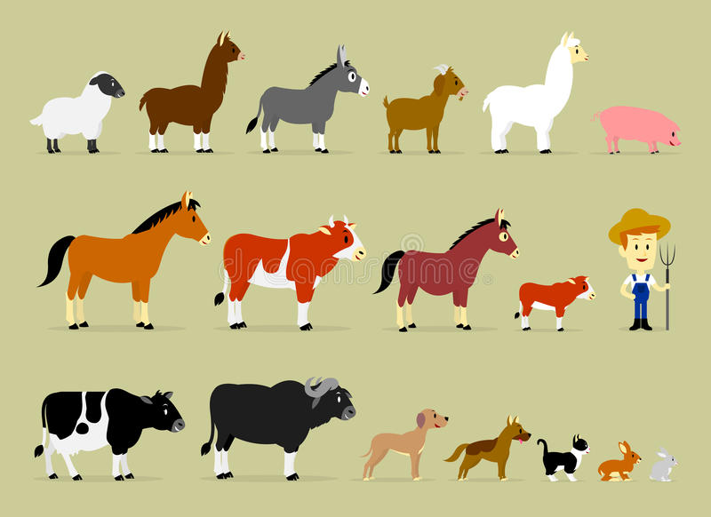 Cute Cartoon Farm Characters. Including a farmer and 17 animals (Sheep, Llama, Donkey, Goat, Alpaca, Pig, Horse, Cow, Mule, Calf, Cow, Buffalo, Great Dane Dog royalty free illustration