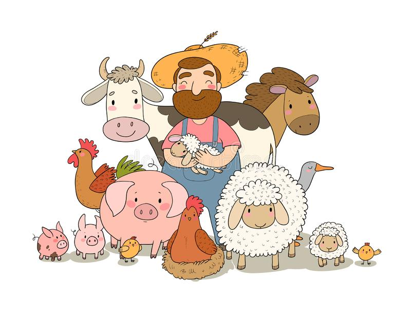 Cute cartoon farmer and animals. Country man and cow, horse and sheep, chicken and goose, pig and rooster. stock illustration