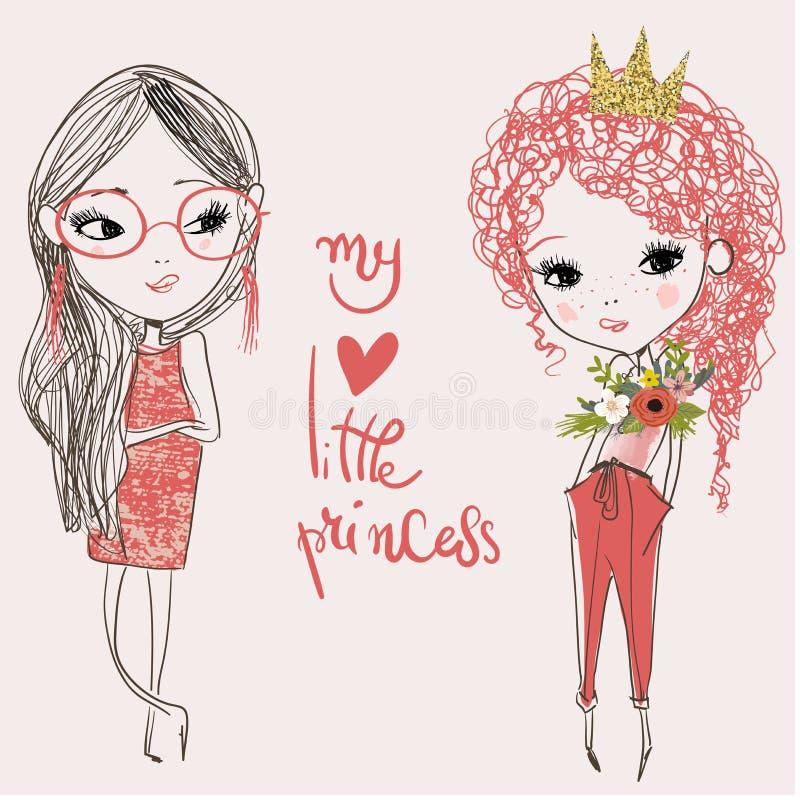 Cute cartoon fashion girls stock illustration
