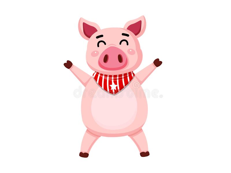 Cute cartoon fat Pig characters isolated on white background. Vector Illustration cartoon style royalty free illustration