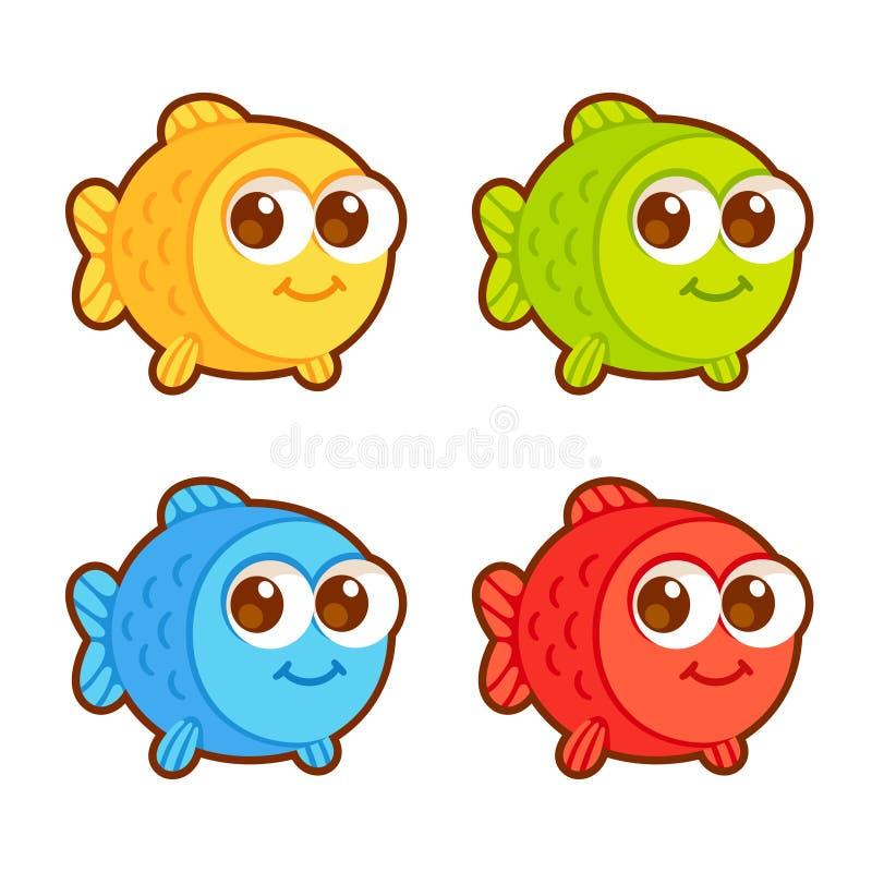 Cute cartoon fish set stock illustration