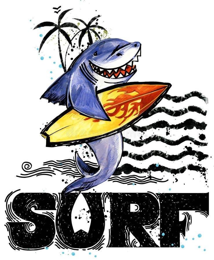 Cute cartoon fish. Surf vintage hand drawn text. sea animal watercolor illustration. children`s summer holidays background. T-shirt kids design template stock illustration