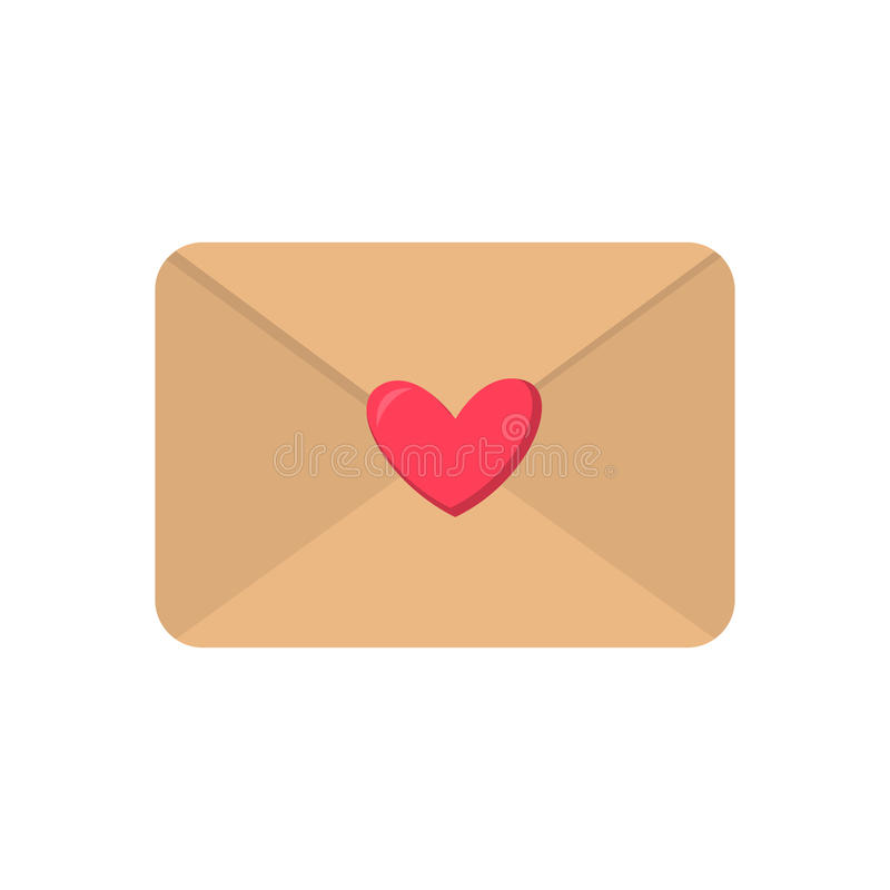 Cute cartoon flat love envelope icon. Vector illustration vector illustration