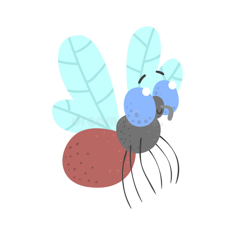 Cute cartoon fly insect character vector Illustration stock illustration