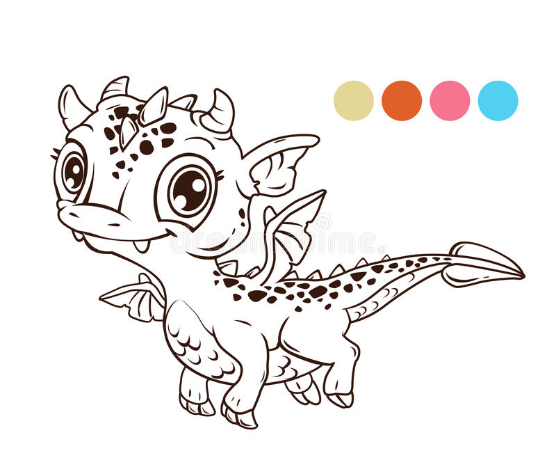Cute cartoon flying baby dragon vector illustration