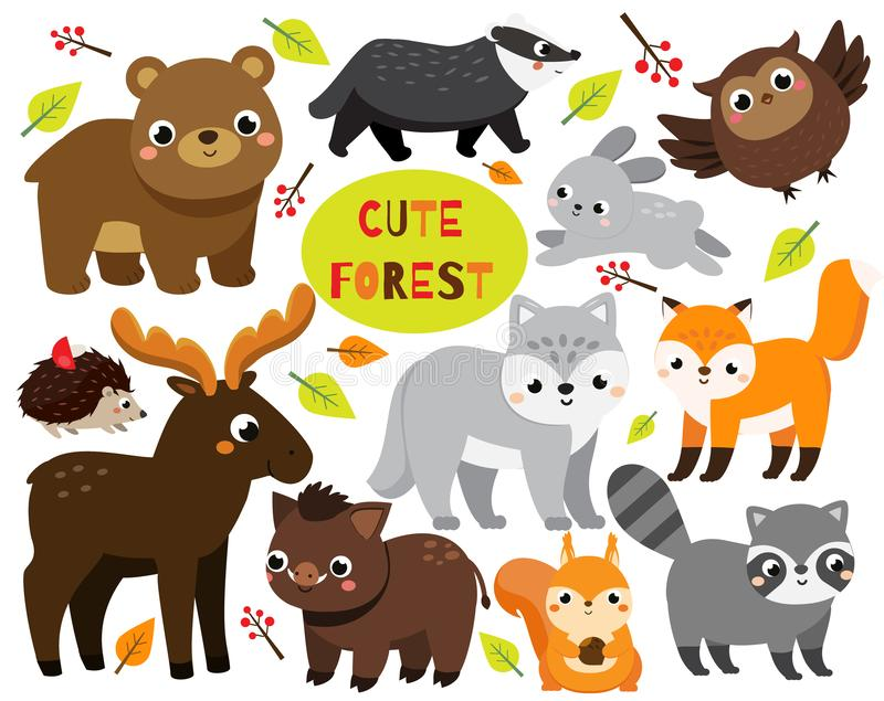 Cute cartoon forest animals set. Woodland wildlife. Badger, raccoon, moose and other wild creatures for kids and children.  royalty free illustration