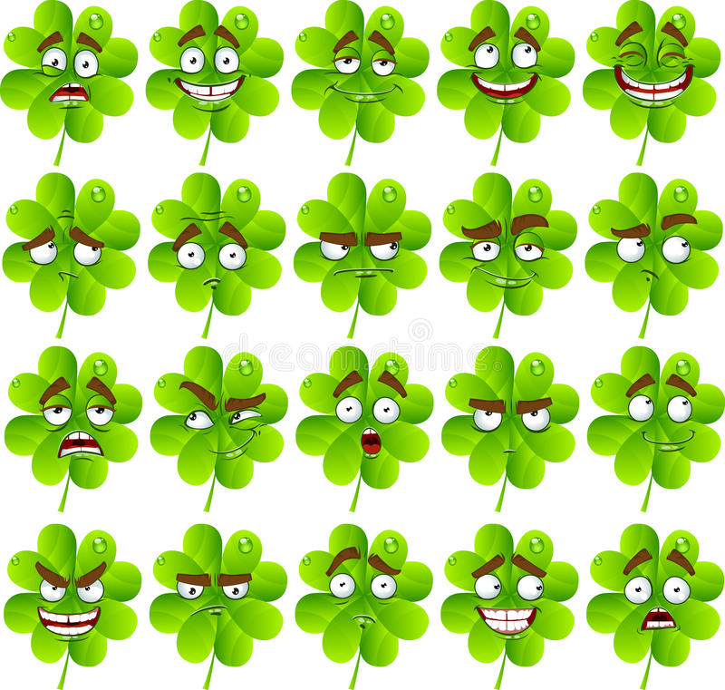Cute cartoon four-leaf clover with many expression stock photography