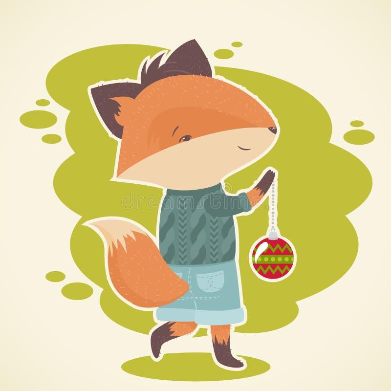 Download Cute Cartoon Fox Celebration Card Stock Vector - Image: 34412955