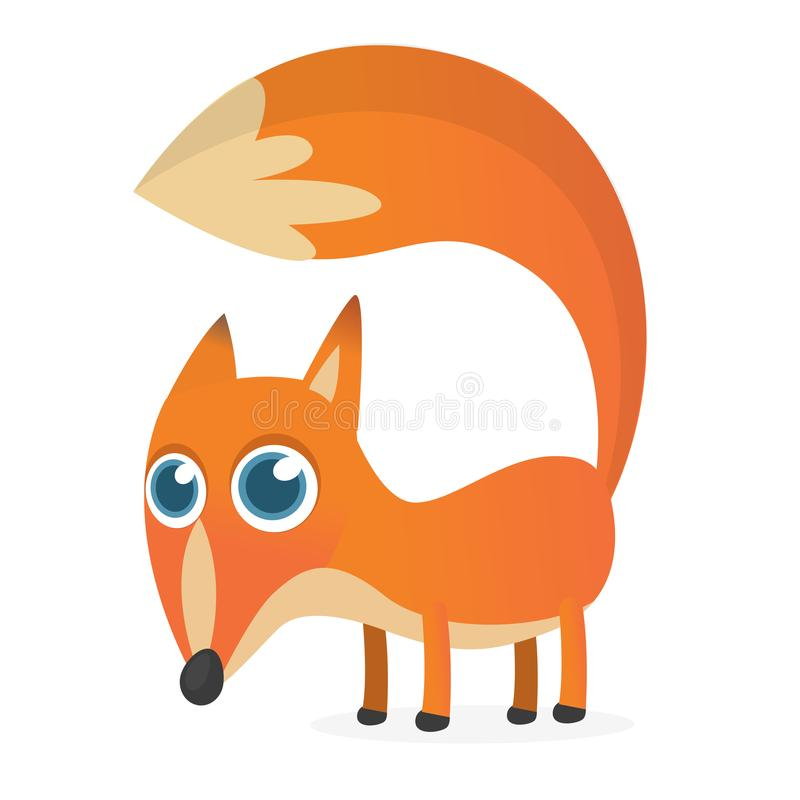 Cute cartoon  fox character. Vector illustration.  royalty free illustration