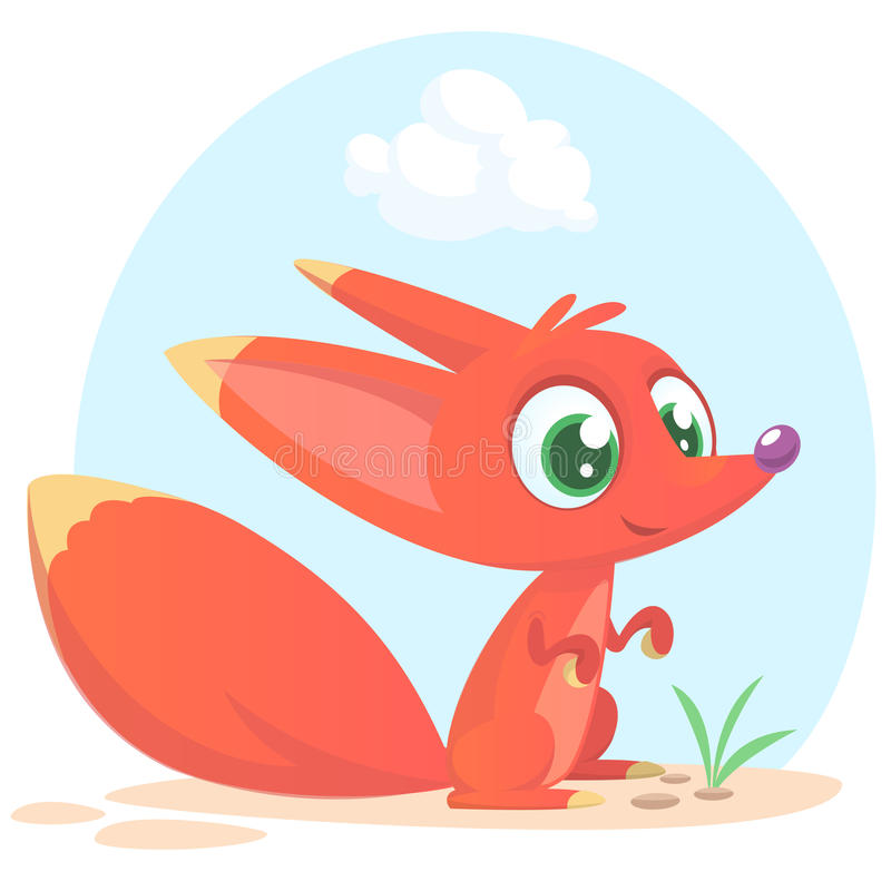 Cute cartoon fox character. Wild forest animal collection. Vector illustr. Cute cartoon fox character. Wild forest animal collection. Baby education. . White royalty free illustration
