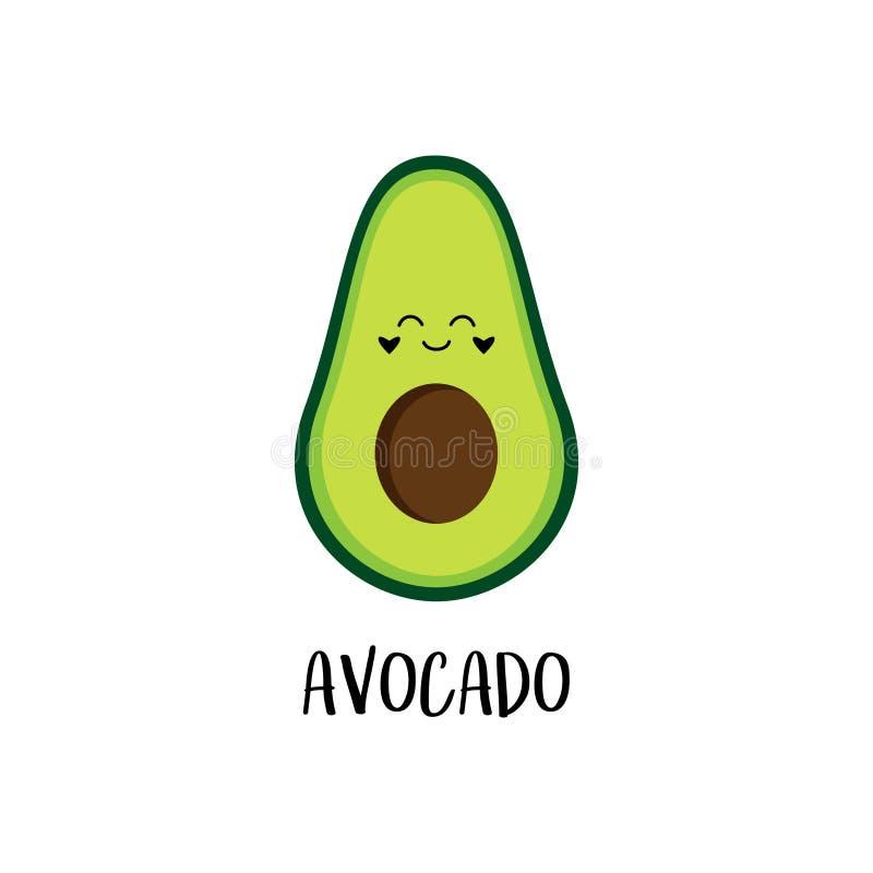 Cute Cartoon Fresh Healthy Avocado Vector Stock Vector