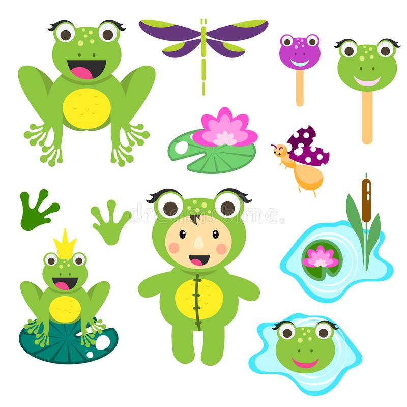 Cute cartoon frog clipart set. Funny frogs illustration for children vector clip art. Cute cartoon frog clipart set. Funny frogs and beetles illustration for stock illustration