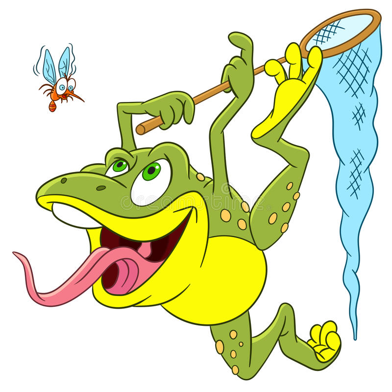 Cute cartoon frog and mosquito stock images