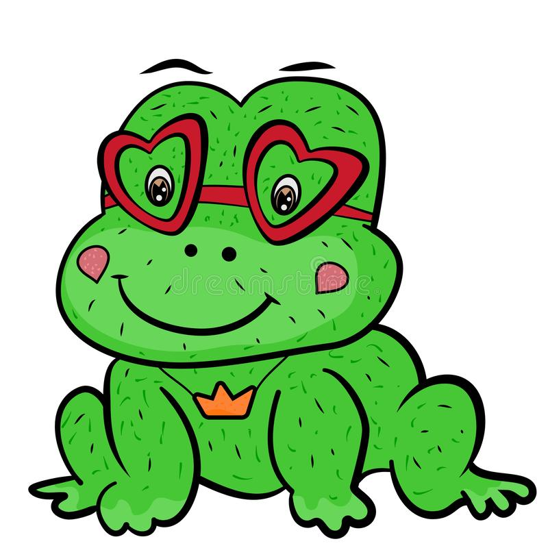 A cute cartoon frog prince fairy tale with glasses in shape of heart and the decoration of the crown pendant. Valentine`s Day. vector illustration