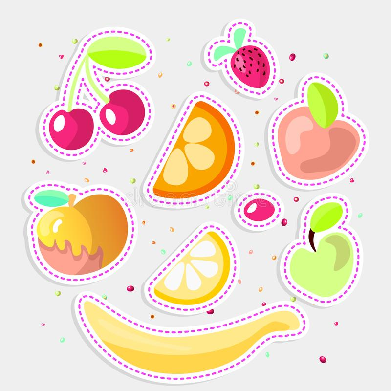 Cute cartoon fruit collection. Sweet fruits icon, summer fruit desserts isolated on white background. Cherry, orange vector illustration