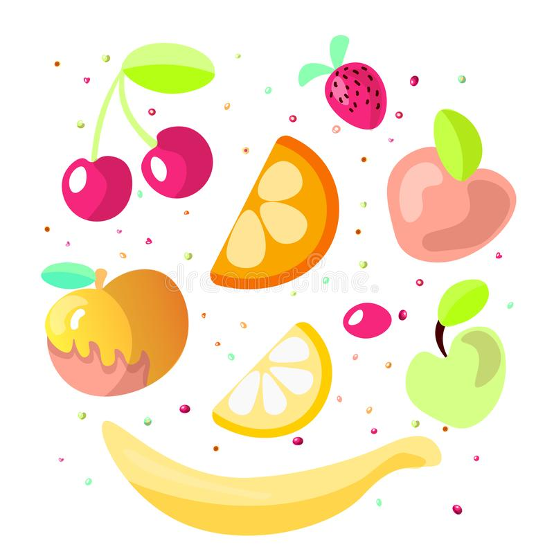 Cute cartoon fruit collection. Sweet fruits icon, summer fruit desserts isolated on white background. Cherry, orange. And lemon, apple and strawberry in one vector illustration