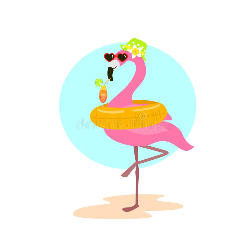 Cute cartoon fun flamingo with swimming inflatable ring float on vacation drinking cocktail. Graphic vector illustration