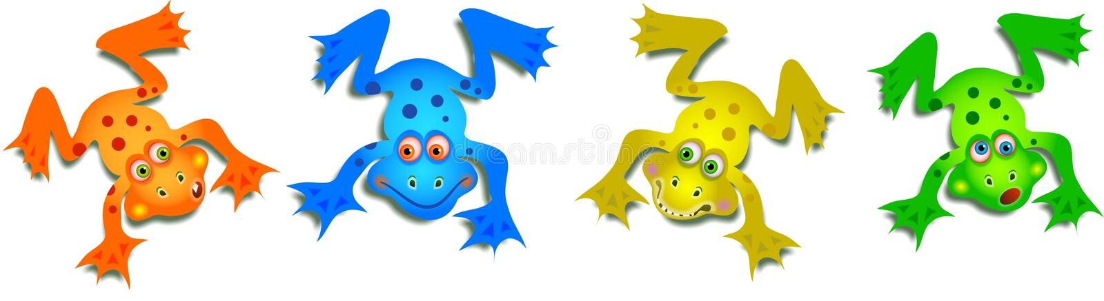 Cute Cartoon Funny Frogs vector illustration