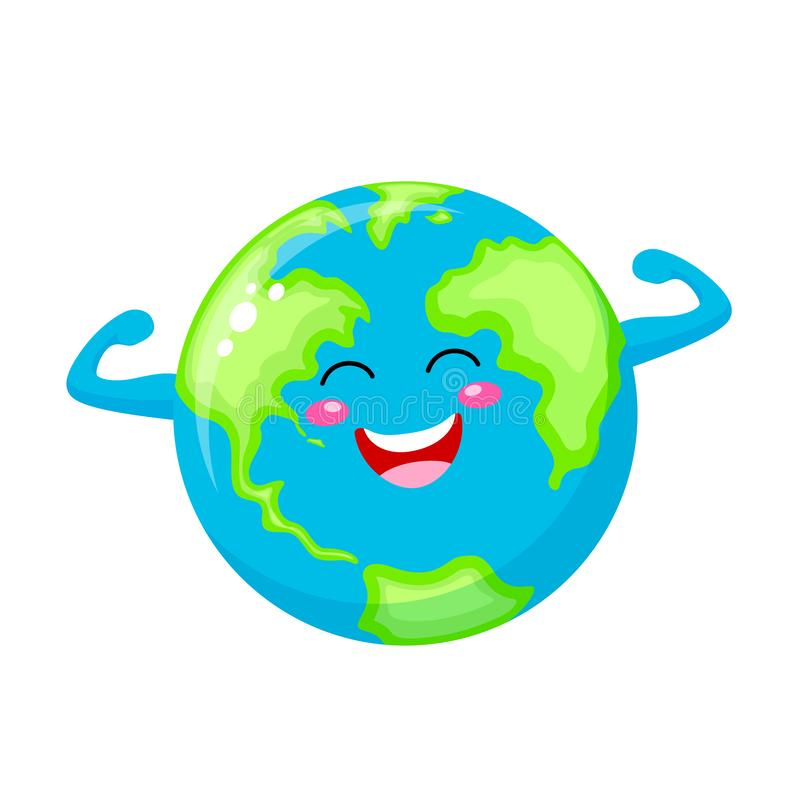 Cute cartoon funny strong globe character. stock illustration