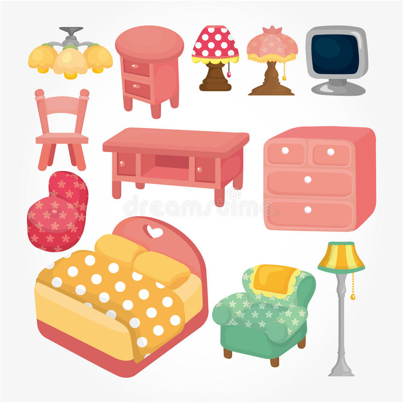 Cartoon Furniture: Cute Cartoon Furniture Icon Set Stock Vector