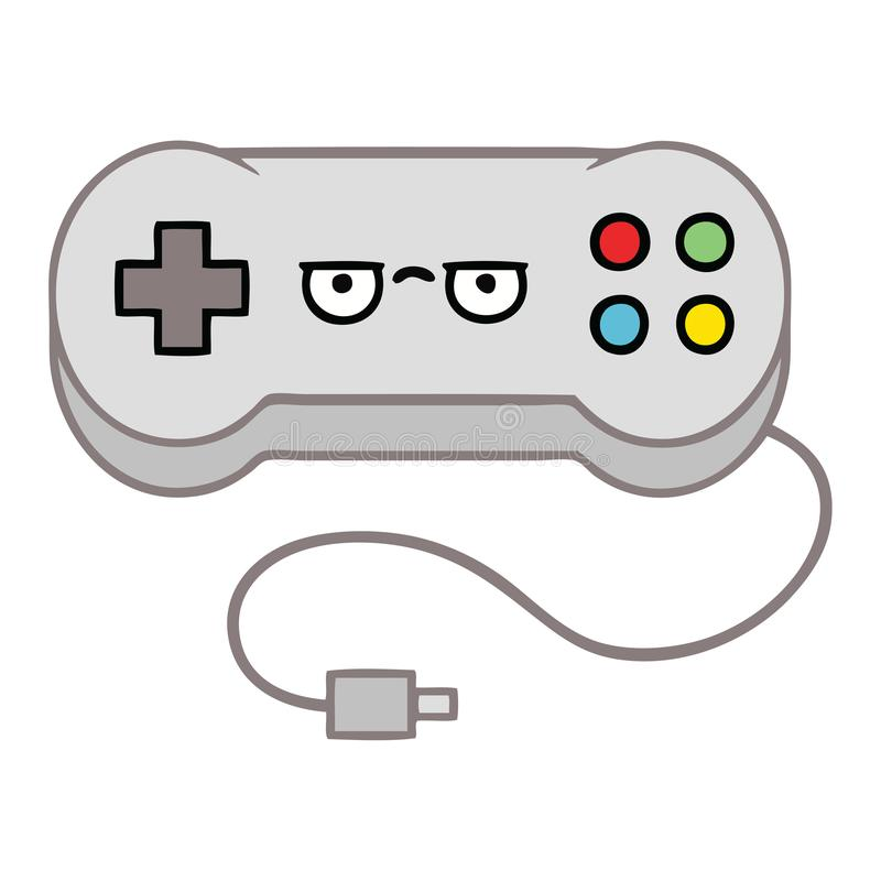 Cartoon Game Controller Gamer Cute Illustration Retro