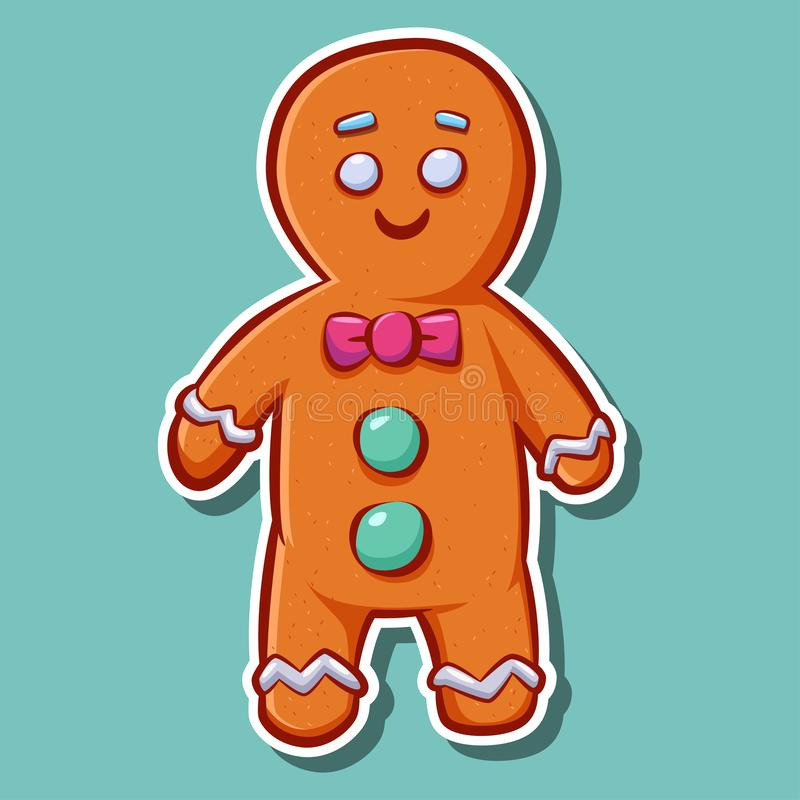 Cute cartoon gingerbread man cookie vector sticker. Christmas character isolated on background. Cute cartoon gingerbread man cookie vector sticker. Christmas stock illustration