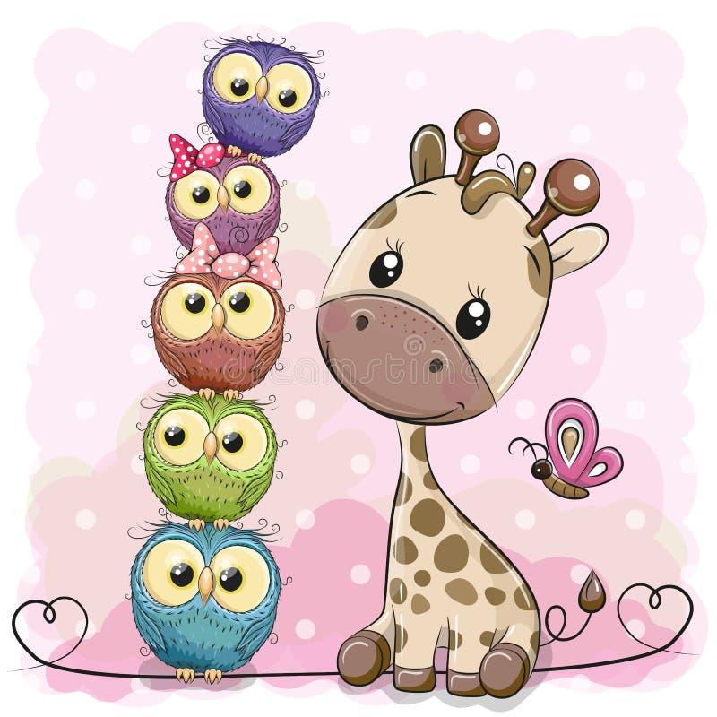 Cute Cartoon Giraffe and owls vector illustration