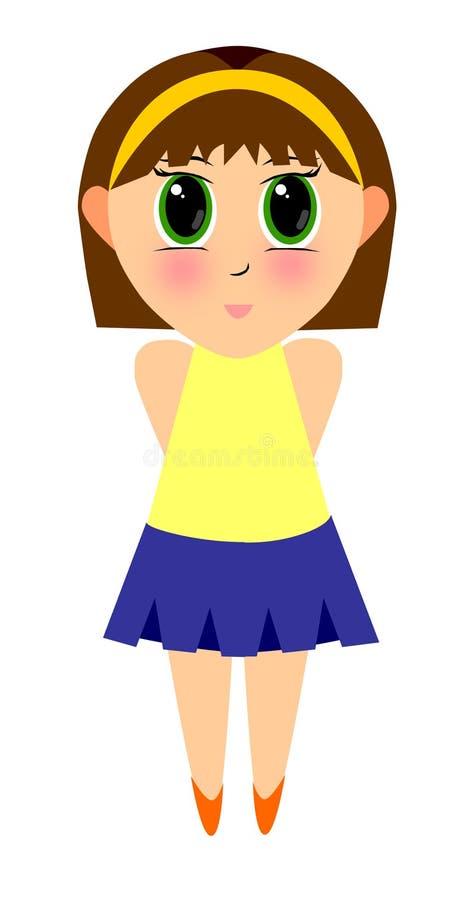 Download Cute Cartoon Girl stock illustration. Illustration of hairband - 166236