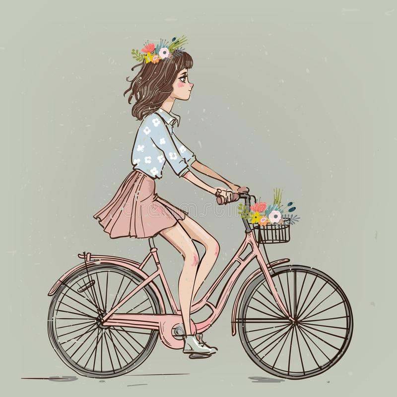 Cute cartoon girl on bike royalty free illustration