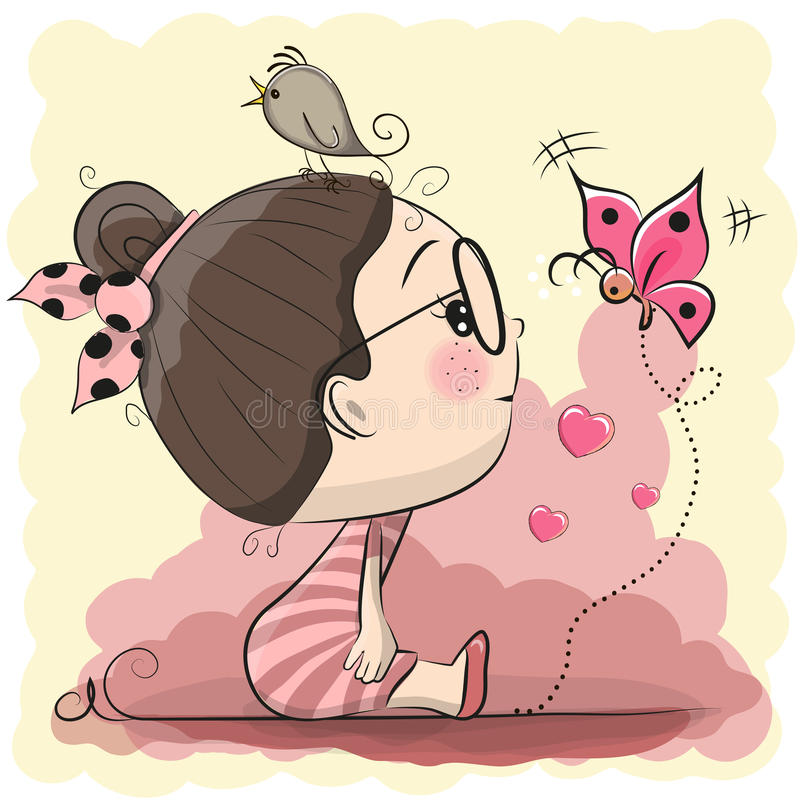 Cute Cartoon Girl with bird and butterfly vector illustration