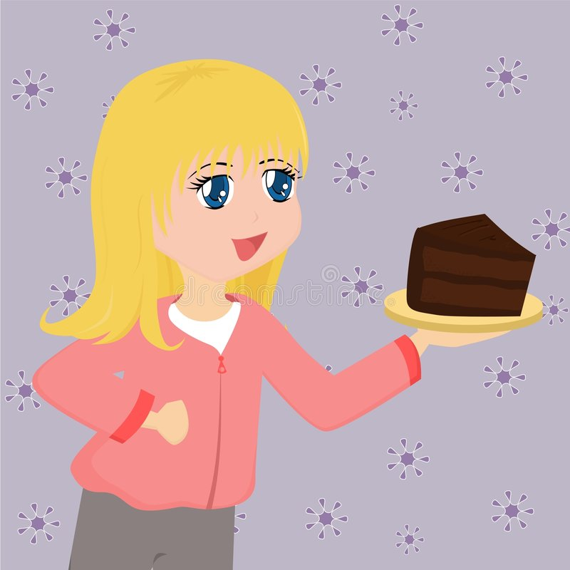 Download Cute Cartoon Girl With Cake Stock Vector - Image: 3407983