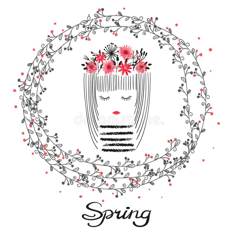 Cute cartoon girl with flowers. Spring illustration. stock photo