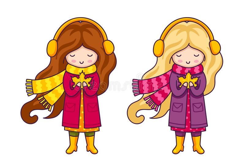 Cute cartoon girl, holding maple leaf in her hands. vector illustration