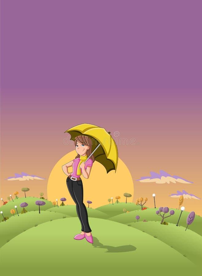 Cute cartoon girl holding yellow umbrella vector illustration