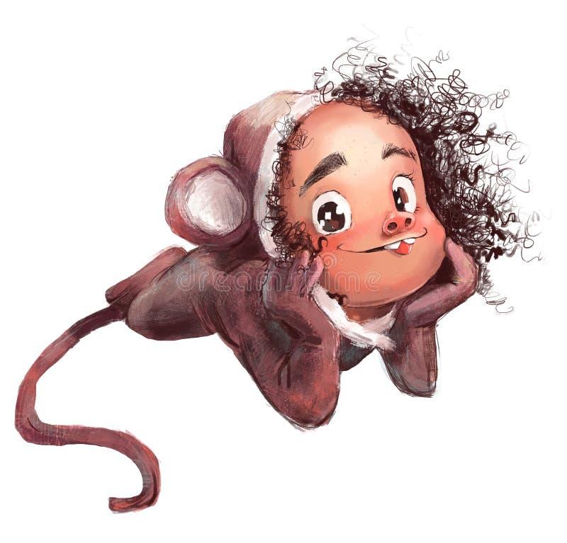 Free Cute Cartoon Girl In Monkey`s Costume Stock Photo - 194335780