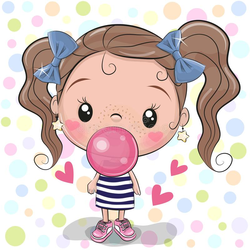 Cute Cartoon Girl with bubble gum. Cute Cartoon Girl with pink bubble gum vector illustration