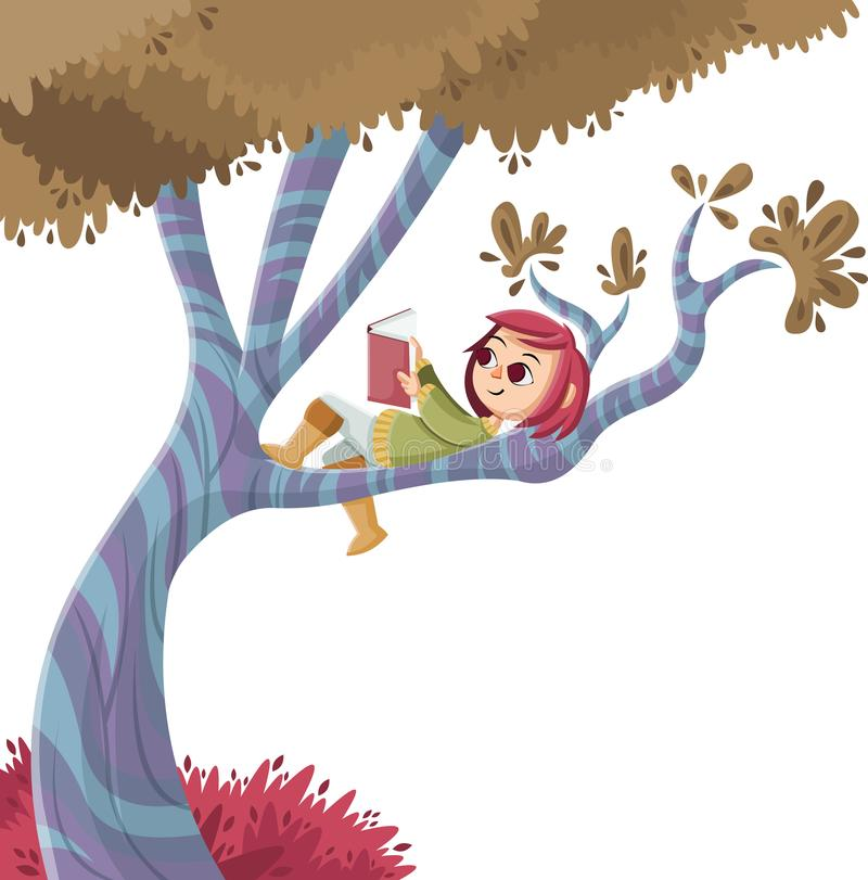 Cute cartoon girl reading book over a tree. Nature background stock illustration