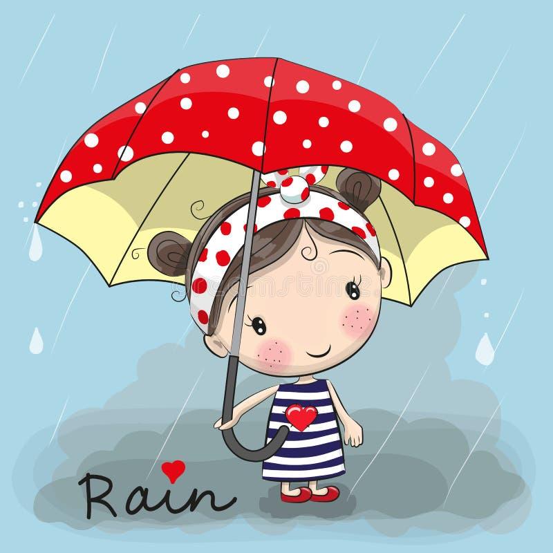 Cute cartoon girl stock vector. Illustration of fall ...