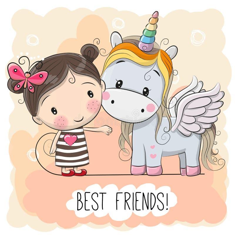 Cute Cartoon Girl and Unicorn royalty free illustration