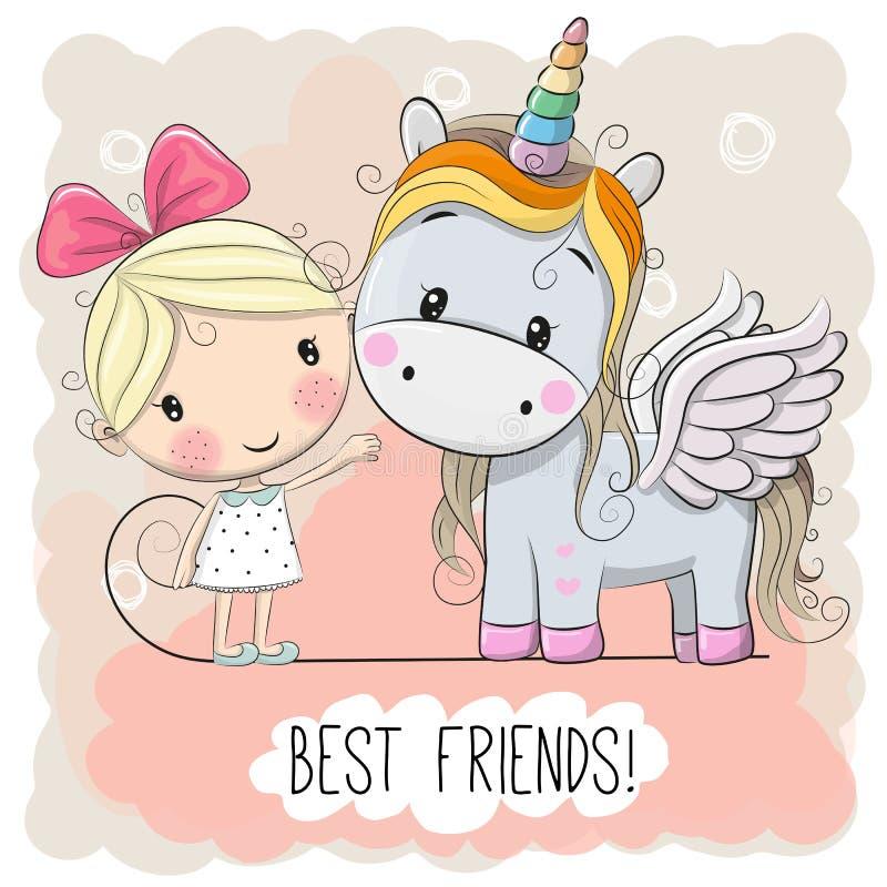 Cute Cartoon Girl and Unicorn stock illustration