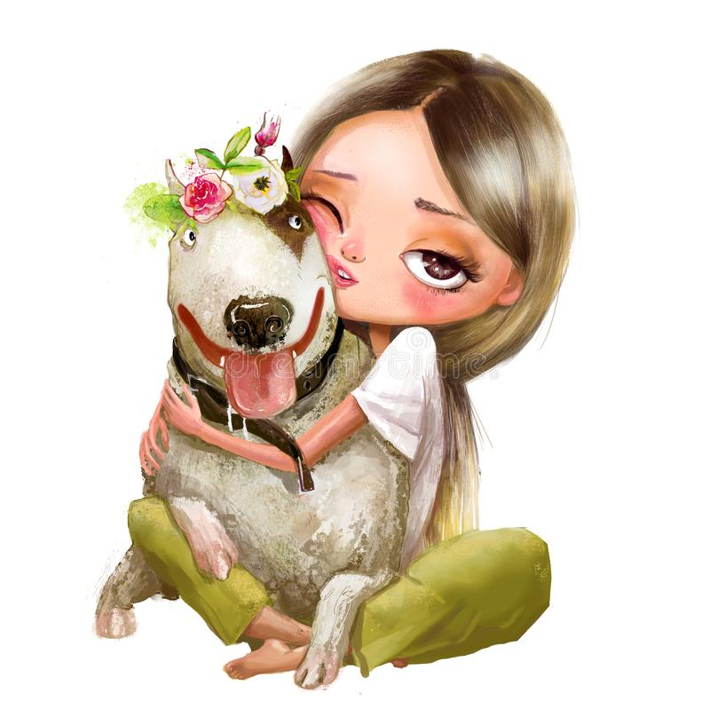Free Cute Cartoon Girl With A Dog Stock Photo - 136970790