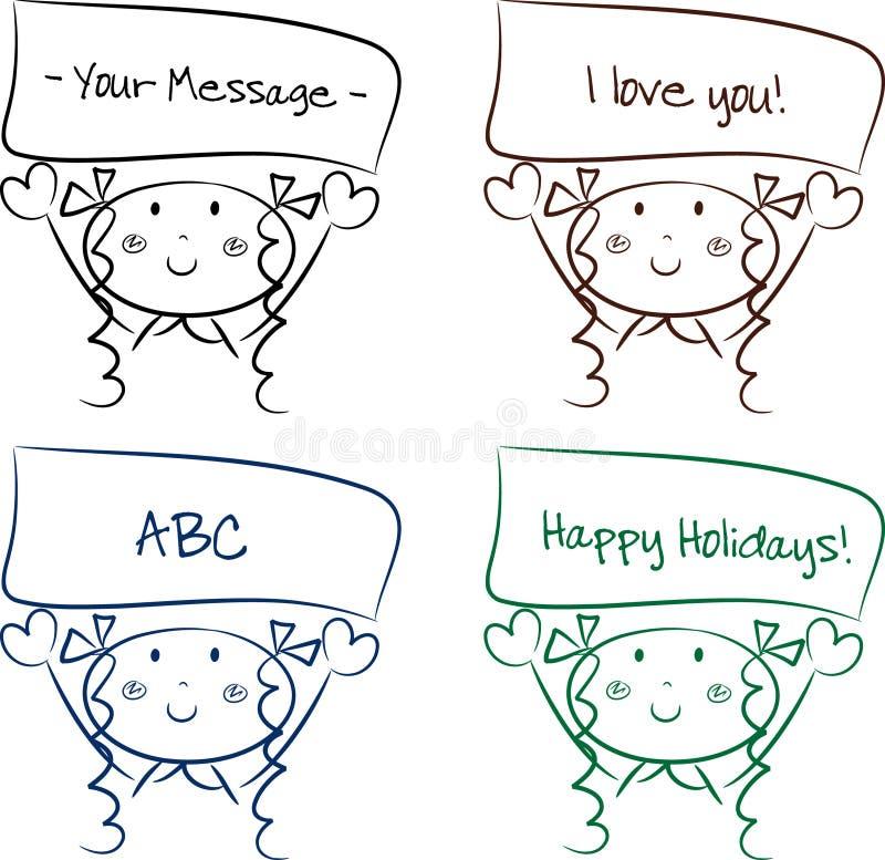 Free Cute Cartoon Girl With A Message Stock Photos - 10548723