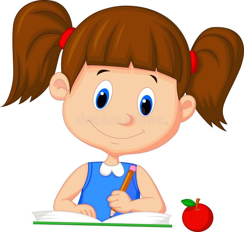 Cute cartoon girl writing on a book vector illustration