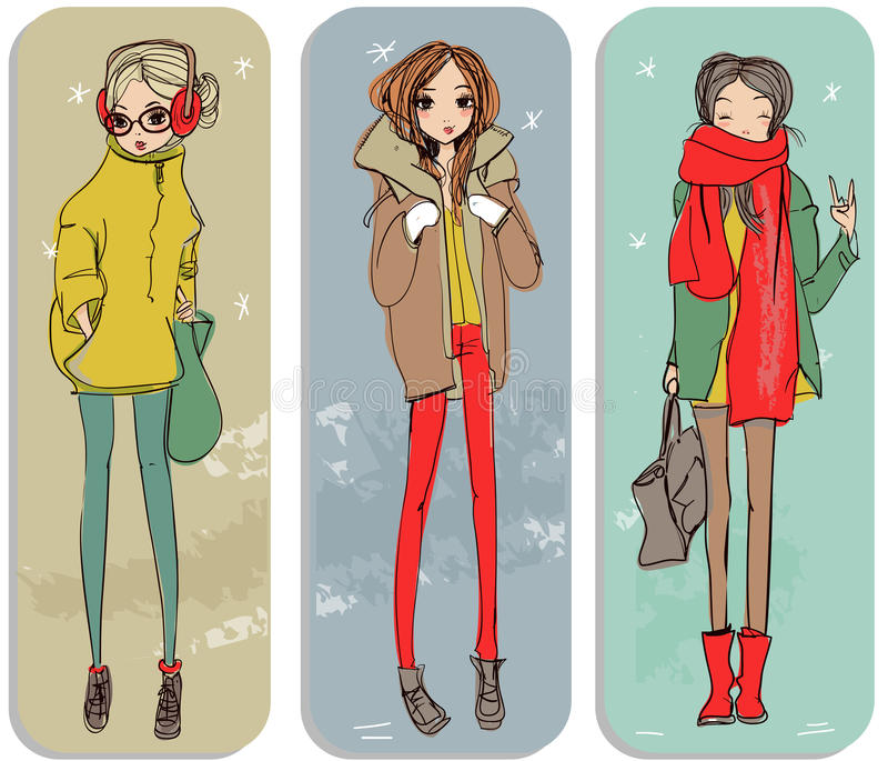 Cute cartoon girls vector illustration